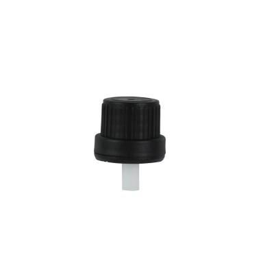 Μαύρο Καπάκι με Εσωτερικό Σταγονόμετρο για Μπουκάλια Din 18